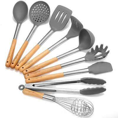 9pc Kitchen Utensil Cooking Set - Silicone/Stainless Steel/Wooden for Pots Pans