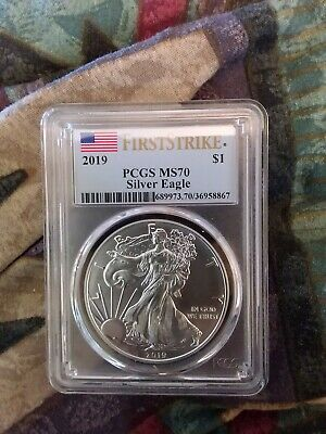 2019 $1 American Silver Eagle PCGS MS70 First Strike Flag Label