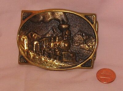 Solid Brass American Steam Engine Train Belt Buckle; By Heritage Mint 1976