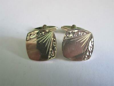 VINTAGE HALLMARKED SOLID SILVER BRIGHT CUT CUFFLINKS - 11.3g - DH!