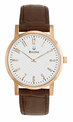 Bulova 97A106 White Dial Brown Leather Band Rose Gold Tone Men's Watch
