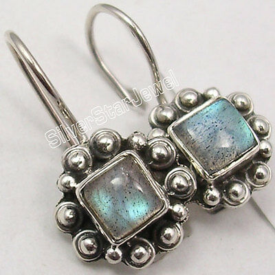 """925 Solid Silver SQUARE LABRADORITE LADIES' ANTIQUE LOOK Earrings 7/8"""" NEW"""