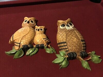 Vintage Set of 2 HOMCO Dart Owl Wall Plaques Made in USA 7403 Bird Family