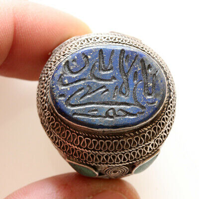 Massive Near East Silver Decorated Ring With Lapis Lazuli Circa 1400 Ad