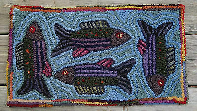 FISHING FOR COMPLIMENTS Complete Primitive Rug Hooking Kit with cut wool strips