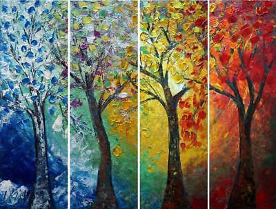Journey Through Seasons Landscape Painting Abstract Original ART Trees Impasto