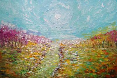SPRING COUNTRYSIDE Original Oil Painting Impasto Textured Large Painting