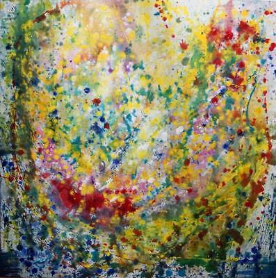 SUMMER RAINDROPS Pollock Inspired ABSTRACT Painting Colorful Large Canvas Origin