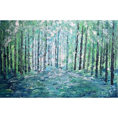 SPRING LIGHT Landscape BLUE GREEN Spring Trees Oil Painting Impasto Textured
