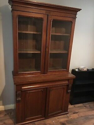 Antique Victorian Oak Library Bookcase 6 Ft 6 Inch Glass Doors Pegged Shelves