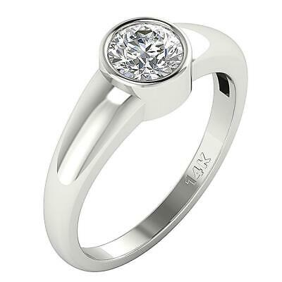 Solitaire Bezel Set Engagement Ring I1 G 0.70 Ct Natural Diamond 14K Yellow Gold