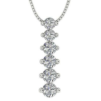 Journey Pendant Necklace Round Cut Diamond SI1 G 0.75 Ct 14K White Gold 1.10Inch