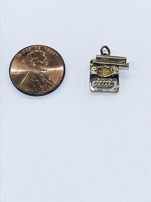 14kt Yellow Gold 3D Moveable Typewriter Pendant Charm