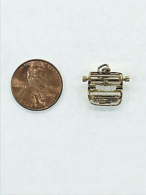 14kt Yellow Gold 3D Moveable Rollable Typewriter Pendant Charm