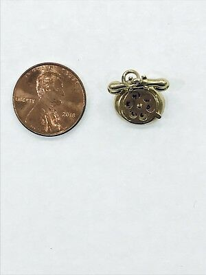14kt Yellow Gold 3D Vintage Rotary Telephone Phone Pendant Charm