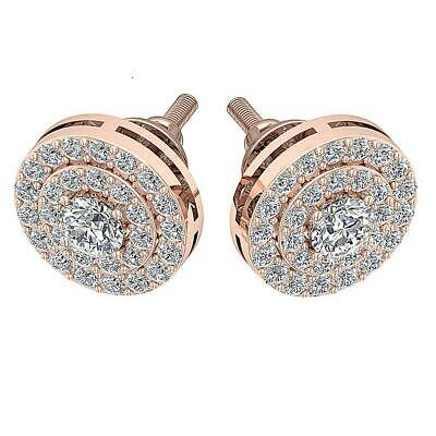 Double Halo Solitaire Cluster Stud Earring SI1 G Natural 1.0Ct Diamond Rose Gold