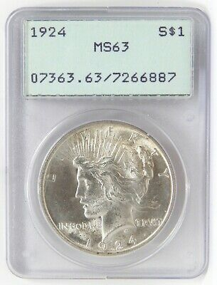 1924 $1 Peace Silver Dollar PCGS RATTLER MS63 Coin A6989