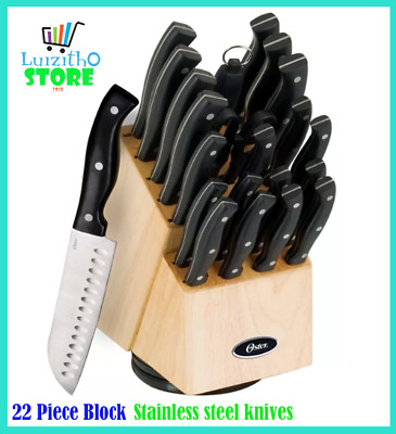Oster winsted rofessional Knife Block Set Chef Knife Set Multi Use 22pc stainles