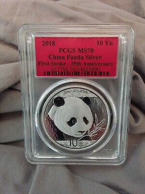 2018 30g Silver China Panda 10Yn PCGS MS70 35th Ann First Strike Red Label