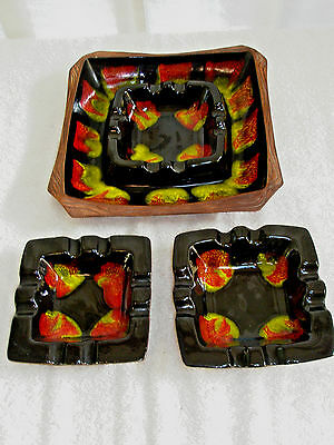 Vintage Mid Century 3 Piece Ashtray Set Ceramic #1604 USA