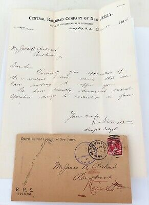 .1894 Central Railroad New Jersey Cover, Dead Letter /cancelled, Original Letter