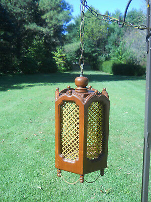 Vintage Hexagon Shaped Wood Hanging Swag Lamp-Ornate Gold Panels