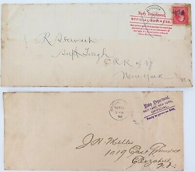 .1898 2 x US NAVY DEPARTMENT OFFICIAL BUSINESS LARGE COVERS.