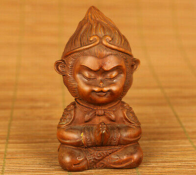 chinese old antique boxwood hand carved wu kong buddha statue netsuke ornament