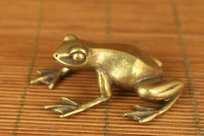 rare chinese old brass hand carved frog statue pendant netsuke pendant
