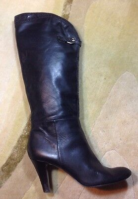 ca96249efa1 TAHARI SZ 10 Knee High Boots Gabe Black Leather Fashion Heels Slip On Shoe