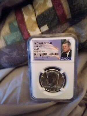1964 S Silver Kennedy Half First Year Of Issue NGC MS65 Kennedy Signed Portrait