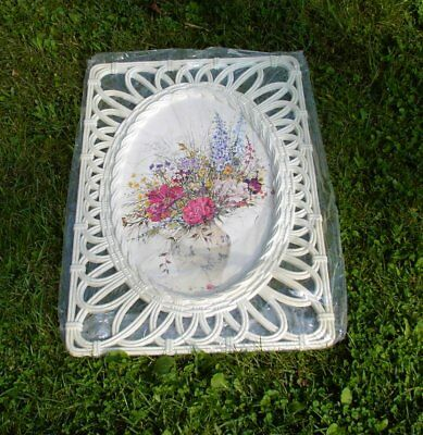 Syroco Floral Wall Art In Off White Lattice Frame - Dark Pink Flowers - #1