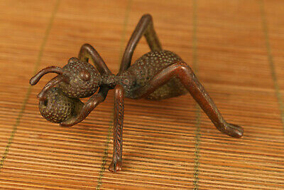 antique chinese old red copper hand carved ant statue figure netsuke hand piece