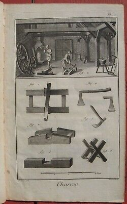 "1765 Set of Seven Diderot Engravings - ""Charron"" - Cart and Wheel Manufacturing"