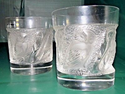 Lalique Crystal Whiskey Tumblers w/ Owls- Set of 2