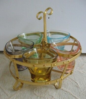 vintage retro 5 HARLEQUIN SHOT GLASSES in gold metal stand- tray