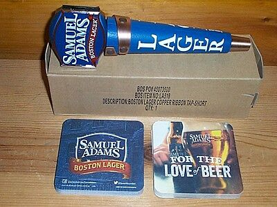 Samuel Adams Shotgun Beer Tap Handle Keg Marker & Sam Adams Bar Coasters New