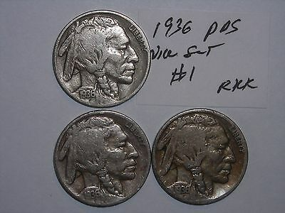 BUFFALO NICKEL 1936,1936D,1936s SET INDIAN HEAD 5 CENT 1936-P,1936-D,1936-S lot1