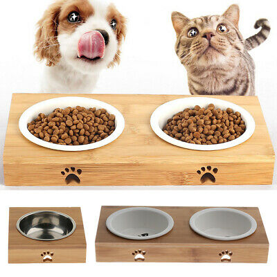 3 Pieces Raised Pet Bowls for Cats and Dogs Bamboo Dog Cat Food Water Bowls