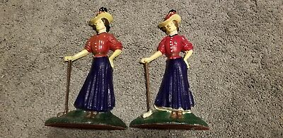 Vintage Set Cast Iron Woman Bookend Set Golfer Golf Club Lady In Dress With Hat
