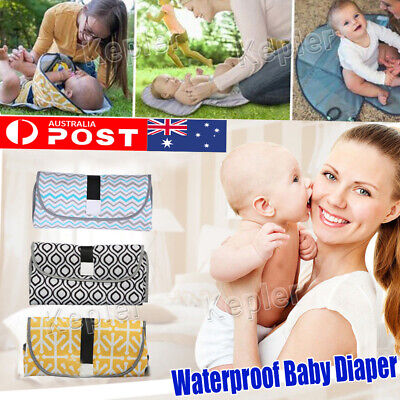 Baby Diaper Changing Mat Travel Home Change Pad 3-in-1 Organizer Waterproof Bag