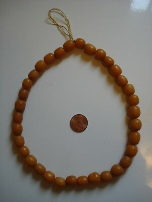 Antiqu Real Old Natural Vtg BUTTERSCOTCH EGG YOLK Baltic Key Hole Amber Bead Lot