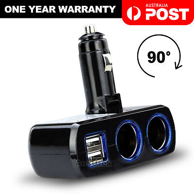 Car Charger Cigarette Lighter Double Power Adapter Socket Splitter Dual USB NEW