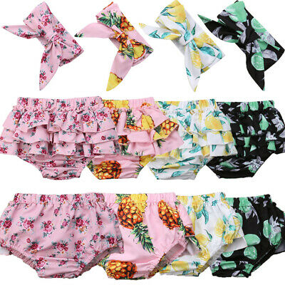 UK Infant Baby Girl Cotton Ruffle Shorts PP Pants Nappy Diaper Covers Bloomers