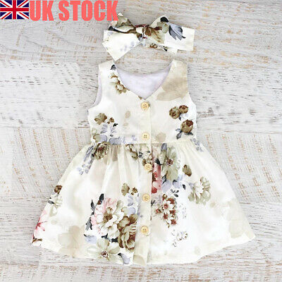 Floral Toddler Baby Girls Summer Party Dress Princess Pageant Kids Dress Clothes