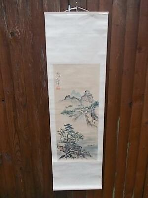 480 / Vintage Wall Hanging Chinese Signed  Hand Painted Scroll Of A Landscape