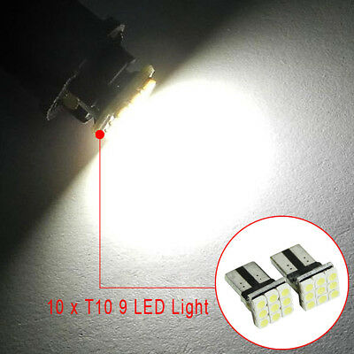 10x T10 LED 9SMD White Car License Plate Light Tail Bulb 2825 192 194 168 W5W JT