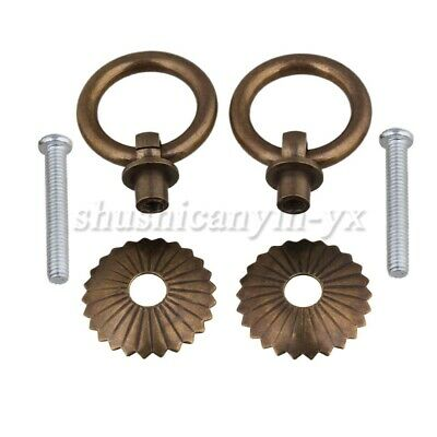 2P 2.5x3.5cm Round Shape Pull Handle Bronze Brass for Antique Wooden Jewelry Box
