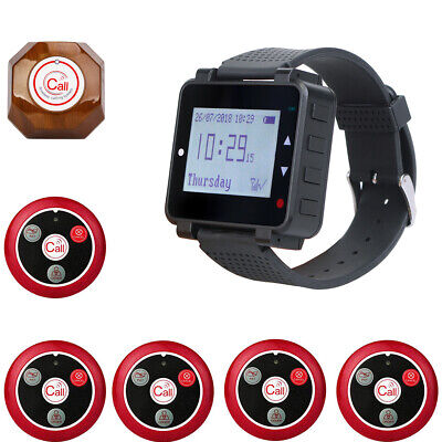 Restaurant Cafe Kitchen Guest Wireless Watch Calling System 6 Call Buttons 999CH