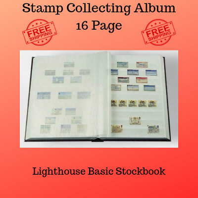 Stamp Collecting Album Lighthouse Basic Stockbook 16 Pages A5 RED w Gold Accents